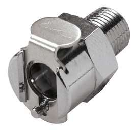 """MC1002 1/8"""", MPT, 1"""" L, 250 PSI, Chrome Plated, Brass, Straight Through/Non-Valved/In-Line, Coupling Body"""
