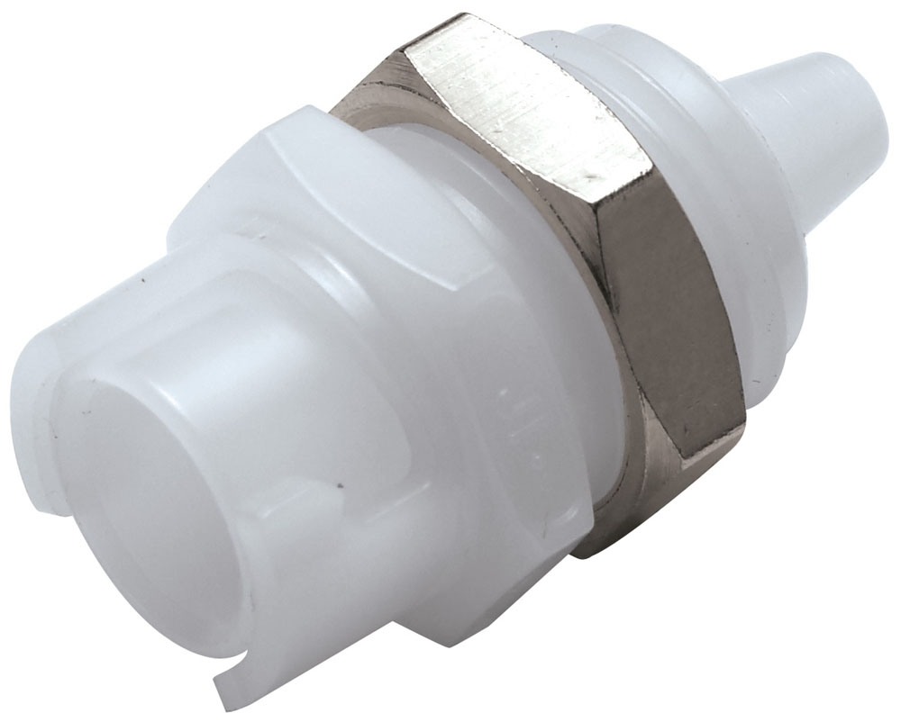 "SMFPM01 1/16"", Hose Barb, 0.75"" L, 100 PSI, Natural White, Acetal, Straight Through/Non-Valved, Coupling Body"