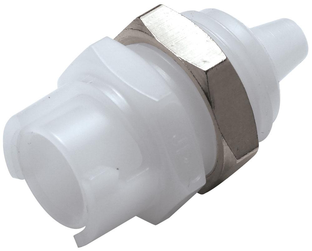 "SMFPM02 1/8"", Hose Barb, 0.9"" L, 100 PSI, Natural White, Acetal, Straight Through/Non-Valved, Coupling Body"