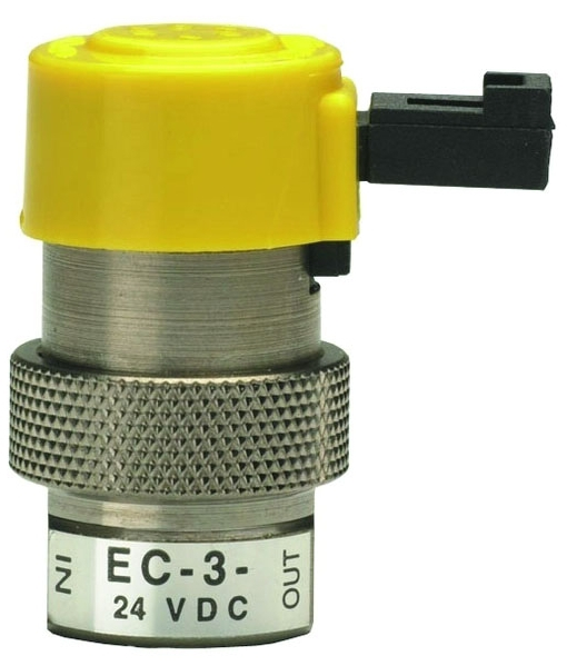 EC-3-12 #10-32 TPI, FPT x FPT, 105 PSIG, Nickel Plated, Brass, 3-Way/NC/Exhaust, Electronic Valve