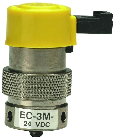 "EC-3M-12 0.025"", 12 VDC, 0.67 W, 105 PSI, Nickel Plated, Brass Body, Stainless Steel Core, NC, 3-Way, Manifold Mount Valve"