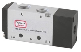 """MMA-41PAS 1/8"""" NPT, 125 PSI, Aluminum/Stainless Steel/Thermoplastic, 5-Port, 3-Way/2-Position/Body Ported, Spool, Air Piloted Valve"""