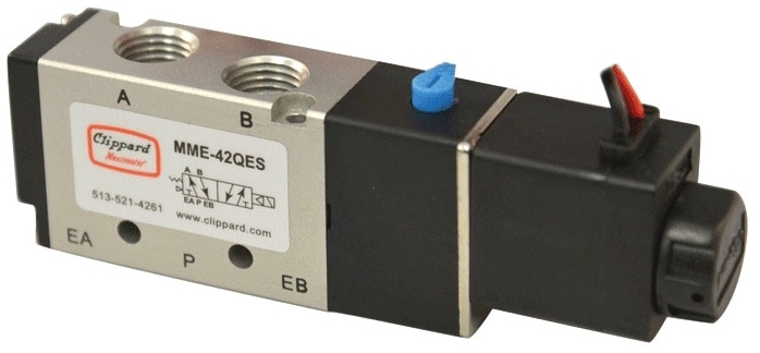 MME-41NES-D024 #10-32 TPI x TPI, 24 VDC, 20 to 125 PSI, Aluminum, 4-Way, Electronic Pilot Operated, Solenoid Valve