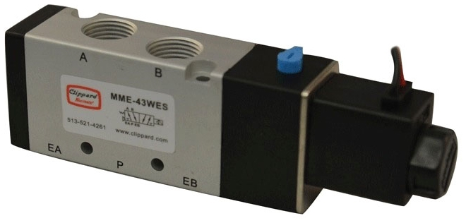 """MME-43WES-D012 3/8"""" x 3/8, NPT NPT, 12 VDC, 20 to 125 PSI, Aluminum, 4-Way, Electronic Pilot Operated, Solenoid Valve"""