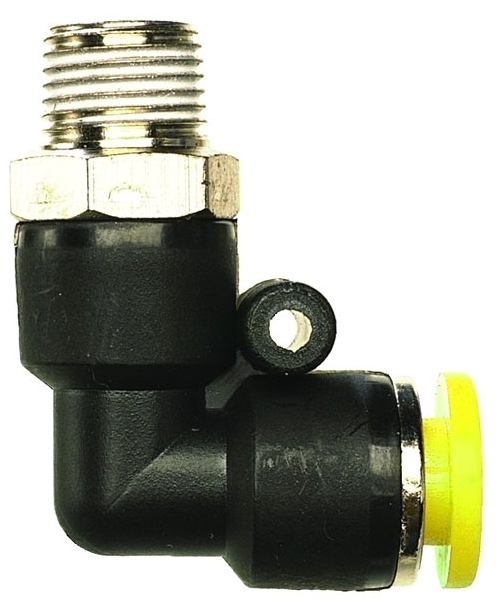 "PQ-ME16W-PKG 3/8"" x 3/8"", MPT MPT, 0 to 150 PSI, Plastic Resin, Push-Quick, Elbow"