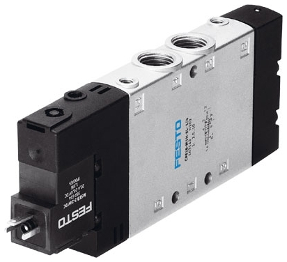 "CPE18-M1H-5L-1/4 G1/4"" x G1/4"", 24 VDC, 2.5 to 10 Bar, Die Cast Aluminum, 5-Port, 2-Way, Electrical Pilot Operated/Piston Slide, Solenoid Valve"
