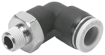 "QBL-1/2-1/2-U 1/2"" x 1/2"", MPT Tube, -13.8 to 145 PSI, Nickel Plated, Brass, Polybutylene Terephthalate, 90D, Push-In, Elbow"