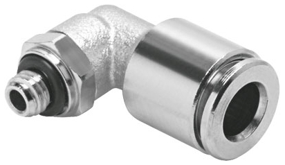 NPQM-L-M5-Q6-P10 3.5 MM, M5 x 6 MM Tube, Nickel Plated Brass, Push-In, Elbow