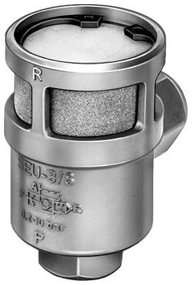 "SEU-3/8-NPT 24 MM Supply, 3/8"" NPT, 1.61"" x 2.8"" Exhaust, 7.5 to 150 PSI, Die Cast Aluminum Silicon, Direct Mount, Quick Exhaust Valve"