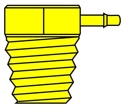 """1/8LB1-N/P 1/8"""" x 1/16"""", MPT Hose Barb, Electroless Nickel Plated, 90D, Elbow"""