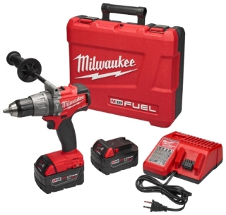 """MIL 2704-22 M18 FUEL 1/2""""Hammer Drill Driver Kit - tool w/(2)XC5.0 Battery packs & Charger w/case"""