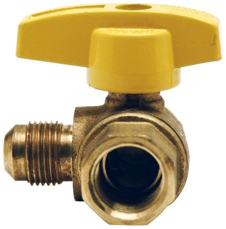 "1/2"" Flare x FPT Forged Brass 5 PSI 1/4 Turn T Handle Angle Gas Ball Valve"
