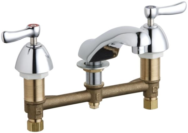 """3"""" x 1-3/4"""" x 5-1/8"""" 0.35 GPM Chrome Plated Two Handle Concealed Deck Mount Hot and Cold Water Faucet"""