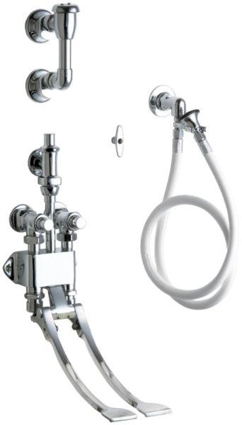 "1/2"" FPT 4' Hose Chrome Plated White Vinyl Hose Pedal Valve Bedpan Cleaner W/Loose Key"