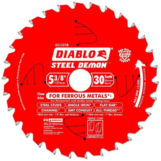 """5-3/8"""" x 20 MM 30-Tooth Non-Stick Coated Steel Triple Chip Grind Circular Saw Blade"""