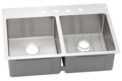 """18 Gauge Stainless Steel 33"""" X 22"""" X 9"""" Polished Satin Double Bowl 4-Faucet Hole Dual/Universal Mount Kitchen Sink Kit"""