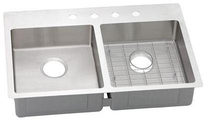 """33"""" x 22"""" x 6"""" Polished Satin 304 Stainless Steel Double Bowl Drop-In/Undermount Kitchen Sink"""