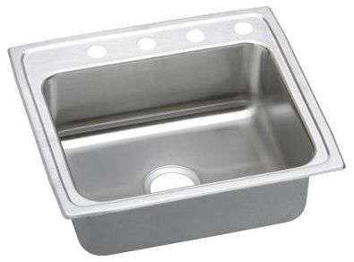 """22"""" x 19-1/2"""" x 6"""" Lustrous Highlighted Satin 304 Stainless Steel Single Bowl Drop-In Kitchen Sink"""