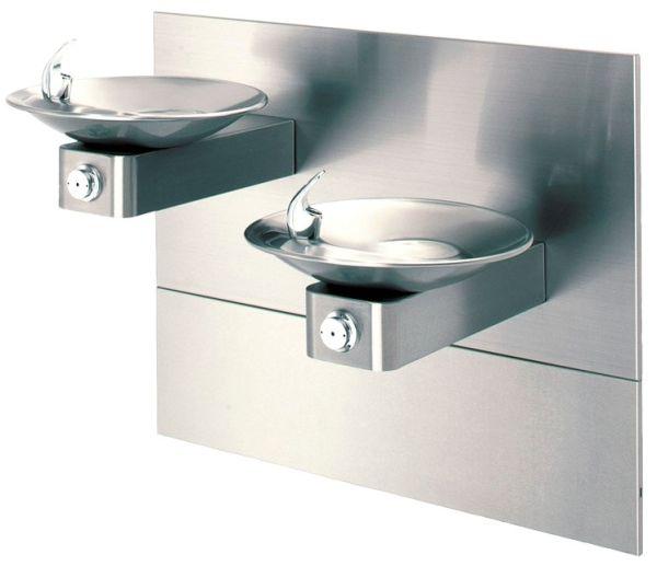 "32"" x 18-5/8"" x 16-3/4"" 3/8"" Tube Tap 8 GPH Satin 304 Stainless Steel Bi-Level Wall Mount Drinking Fountain"