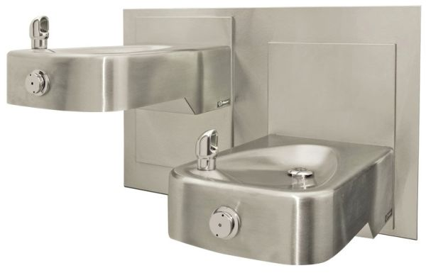 14-gauge, hi-lo, adjustable height, satin-finish stainless steel, low-profile, integral bowl and trap Steel in-wall mounting plate for 1117L TOTAL OPTION: Stainless steel bottle filling station