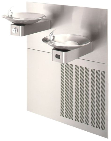 Hi-lo w/upper unit left side, satin-finish stainless steel drinking fountain, sensor operated with grille and back panel Chiller 8 gallons per hour In-wall mounting frame, hi-lo TOTAL OPTION: Stainless steel bottle filling station OPTION: Cane touch sk...