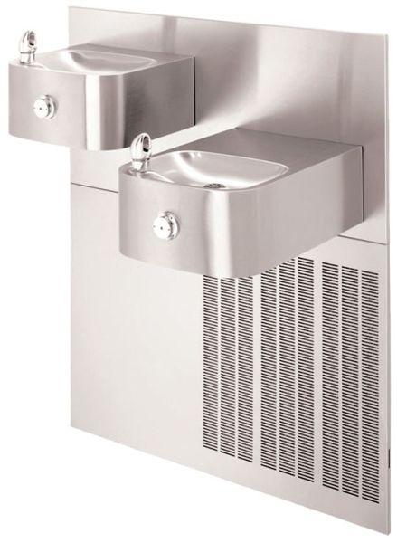 "32"" x 18-1/2"" 3/8"" Tube Tap 8 GPH Satin 304 Stainless Steel Bi-Level Wall Mount Drinking Fountain"
