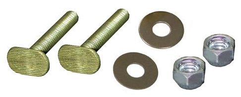 "1/4"" x 2-1/4"" Closet Bolt - with Stainless Round Washer and Nickel Plated Acorn Nut, Brass"