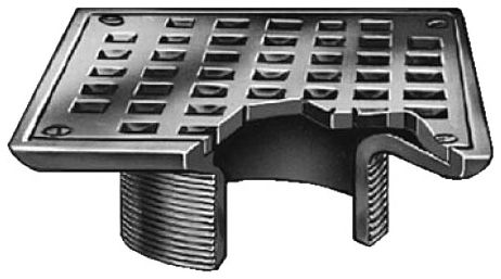 """5"""" x 5"""" x 2"""" Chrome Plated Adjustable Square Drain Strainer Head"""