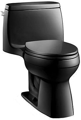 """27-3/4"""" x 18-3/4"""" x 28-3/16"""" 1.28 GPF Bottom Outlet Floor Mount Black Vitreous China 1-Piece Elongated Front Bowl Toilet"""