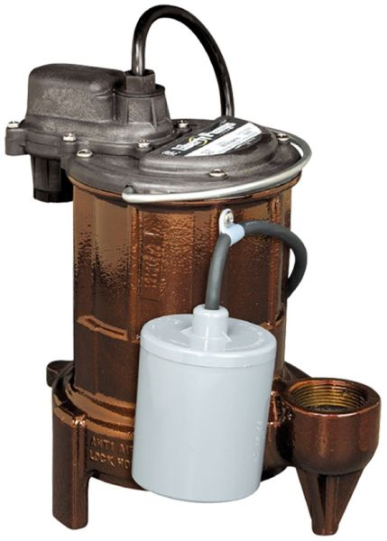 "115 VAC 1-Phase 5.2 A 1/3 HP 3450 RPM 25' Cord 1-1/2"" Epoxy Powder Coated Cast Iron 1-Piece Submersible Sump Pump"
