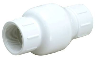 "3/4"", Solvent x Solvent, 200 PSI, PVC, 1-Piece, Inline, Spring Loaded, Check Valve"