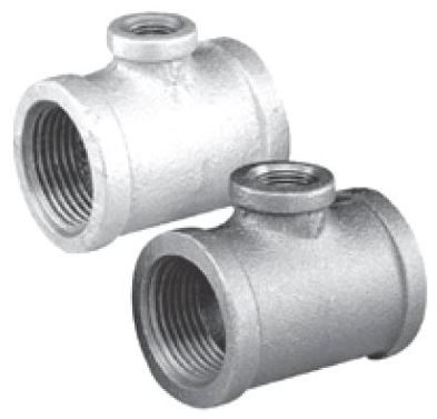 """1-1/2"""" x 1/2"""" x 1"""" FPT x FPT x FPT Galvanized Malleable Iron Reducing Tee"""