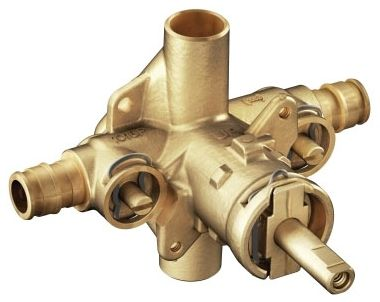 "1/2"" x 1/2"" CC/NPT x CC/NPT Brass 4-Port Rough-In Pressure Balancing Tub and Shower Valve"