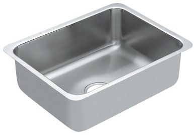 "23"" x 18"" Brushed Stainless Steel Single Bowl Undermount Kitchen Sink"