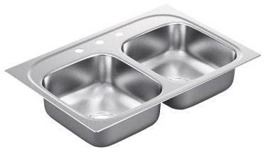 """33"""" x 22"""" Drop-In Mount Double-Equal Bowl Kitchen Sink - SoundSHIELD, Matte Stainless Steel"""