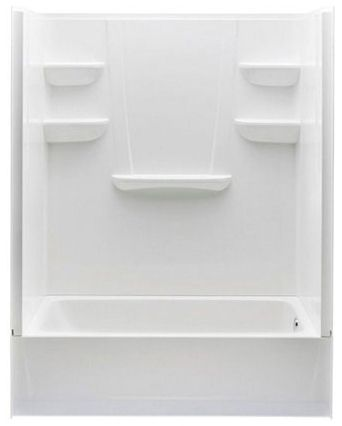 """60"""" x 30"""" x 76"""" White/High-Gloss Resin/Glass Left Drain 4-Piece Alcove Tub and Shower Module"""