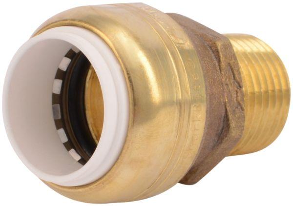 "1"" x 1"" PVC Push-Fit x MPT DZR Brass Male Transition Adapter"