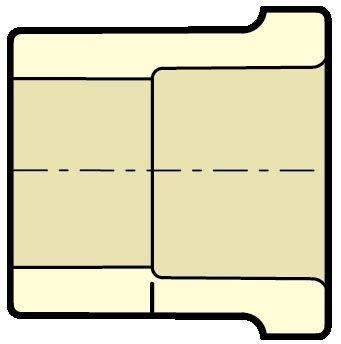 "3/4"" x 3/4"" IPS Spigot x CTS Socket 100 PSI Tan CPVC SDR 11 Transition Straight Bushing"