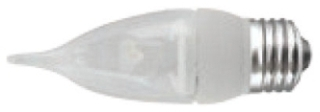 tcp LED4E26F1127K TCP LED 4W 2700K 260 LUMEN DIMMABLE FLAME TIP MED BASE CLEAR LAMP