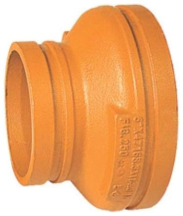 """6"""" x 4"""" Grooved x Grooved Orange Painted Cast Ductile Iron 40S Concentric Reducer"""