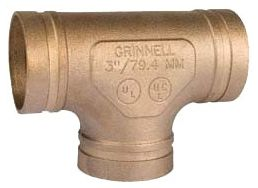 """2-1/2"""" x 2-1/2"""" x 2-1/2"""" Grooved x Grooved x Grooved Copper Alloy Straight Tee"""