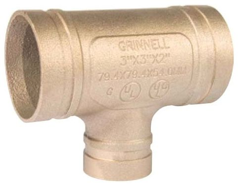 """4"""" x 4"""" x 3"""" Grooved x Grooved x Grooved Copper Alloy Reducing Tee"""