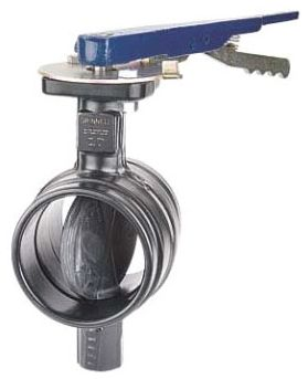 "8"" Grooved x Grooved 300 PSI Polyamide Coated Ductile Iron Locking Lever Butterfly Valve"