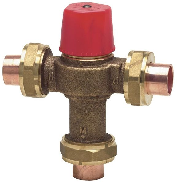 """3/4"""" NPT x NPT x NPT Cast Copper Silicon Alloy Hot Water Thermostatic Mixing Valve"""