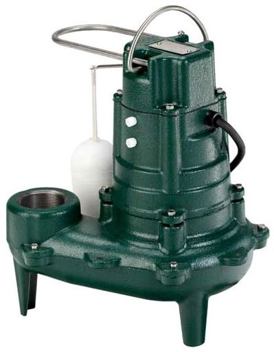 "115 VAC 1-Phase 10.4 A 1/2 HP 1750 RPM 50' Cord 2"" FPT Outlet Epoxy Powder Coated Cast Iron Submersible Effluent Pump"