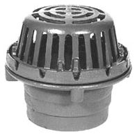 "3"" No Hub Roof Drain - Top-Set, 90 Degree Side Outlet, Low Silhouette Dome, Cast Iron"