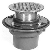 "4"" No Hub Outlet Floor Drain - Bottom Outlet, Round Top, Cast Iron"