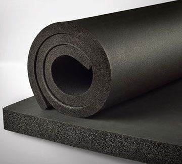 "6' x 3/8"" x 1"", Black, Elastomer, Closed Cell Roll Pipe Insulation"