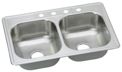 "33"" x 22"" x 8-1/16"", Elite Satin, Stainless Steel, Double Bowl, Drop-In Kitchen Sink"