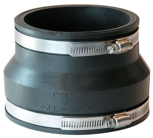 "4"" x 4"", Elastomeric PVC-DWV, Clay to PVC, Straight, Flexible Coupling with 300 Stainless Steel Clamp"